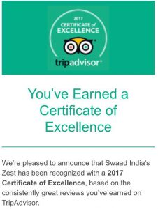 Swaad Food Excellence Certificate Trip Advisor
